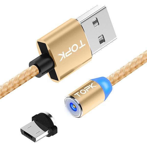 Магнитный кабель быстрой зарядки TOPK LED AM23 QC 2.0 золотистого цвета