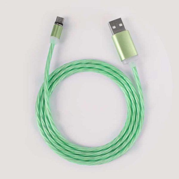 Светящийся магнитный кабель быстрой зарядки TOPK LED AM67 12W QC 2.0 зеленый