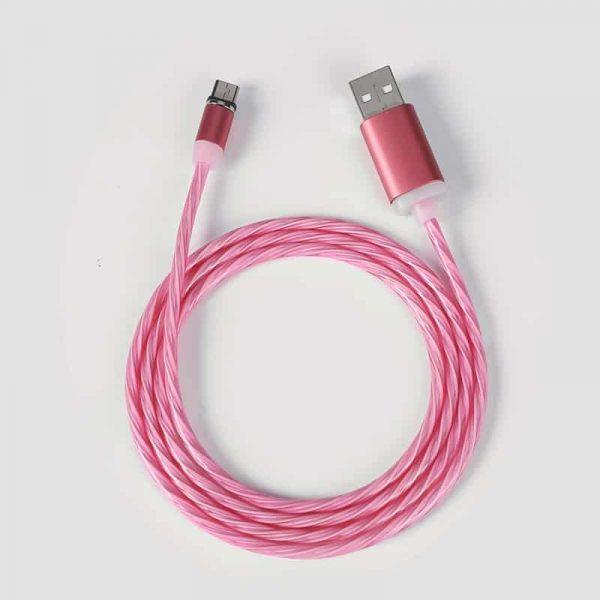 Светящийся магнитный кабель быстрой зарядки TOPK LED AM67 12W QC 2.0 розовый