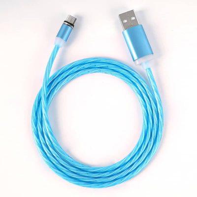 Светящийся магнитный кабель быстрой зарядки TOPK LED AM67 12W QC 2.0 голубой