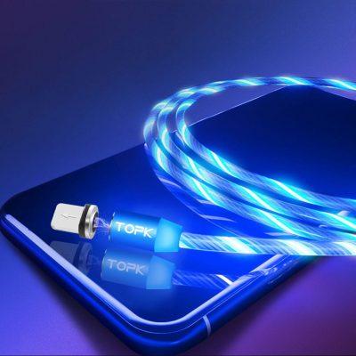 Светящийся магнитный кабель зарядки TOPK AM67 LED 1m 2.4A