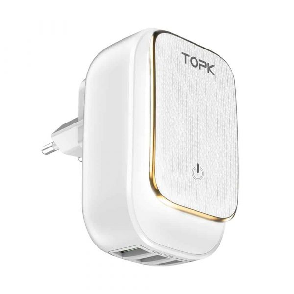 Сетевое зарядное устройство TOPK B312 LED Auto-ID 17W 3xUSB