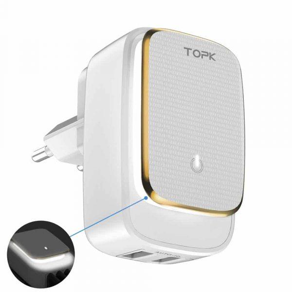 Сетевое зарядное устройство TOPK A2205 LED Auto-ID 12W 2xUSB