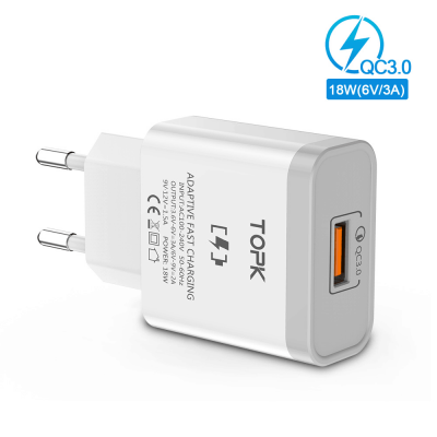 Сетевое зарядное устройство TOPK B126Q QC 3.0 18W белое