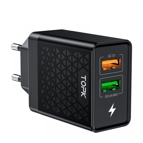 Сетевое зарядное устройство TOPK B254Q QC 3.0 28W 2xUSB черное