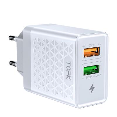 Сетевое зарядное устройство TOPK B254Q QC 3.0 28W 2xUSB белое