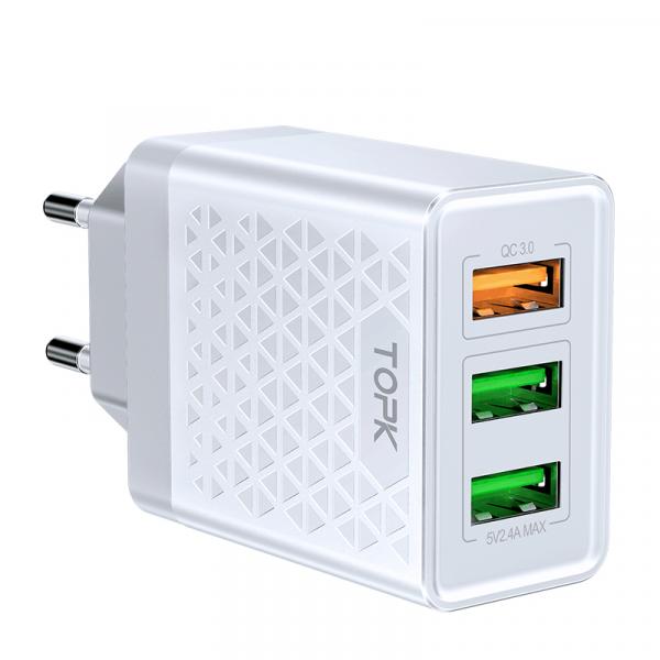 Сетевое зарядное устройство TOPK B354Q QC 3.0 30W 3xUSB белое