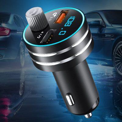 Автомобильное зарядное устройство FM-трансмиттер модулятор TOPK G201Q Bluetooth, MicroSD, USB QC 3.0 18W 2xUSB