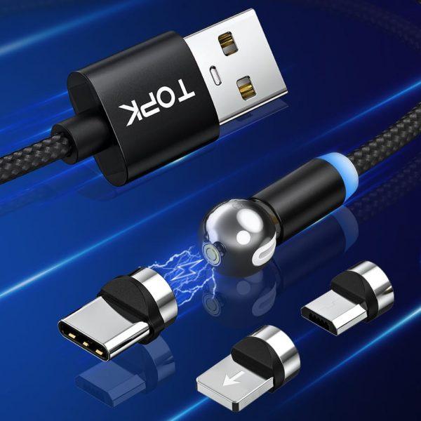 Магнитный кабель зарядки TOPK AM28 LED QC 2.0 вращающийся на 360°