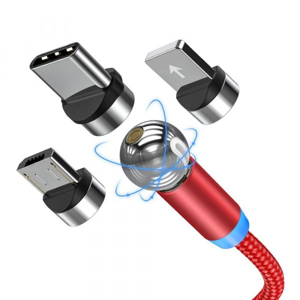 Магнитный кабель зарядки TOPK AM28 LED вращающийся на 360°
