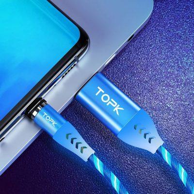 Магнитный кабель зарядки и синхронизации TOPK AM16 LED 18W светящийся