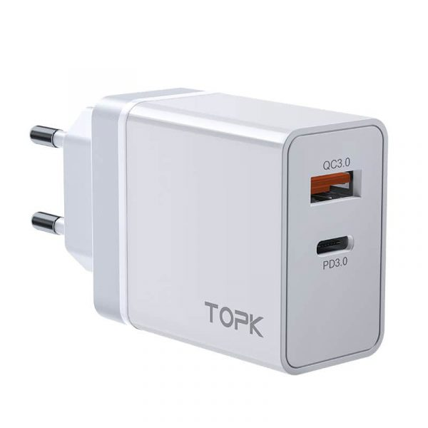 Сетевое зарядное устройство TOPK B204P 36W QC3/PD3