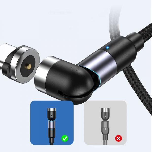Магнитный кабель зарядка TOPK AM59 LED вращающийся на 540°