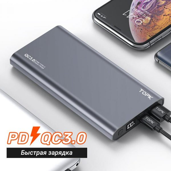 УМБ Power Bank TOPK I1006P 10000 mAh QC/PD 18W