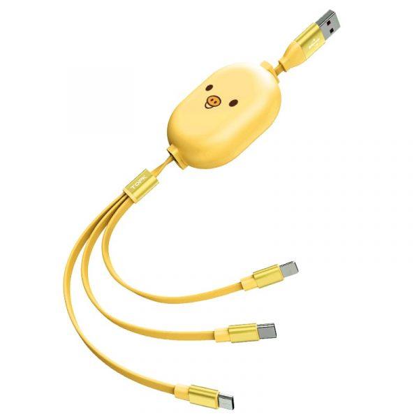 Сматывающийся кабель зарядки MicroUSB, Type-C, Lightning TOPK AN25