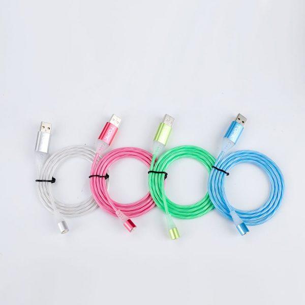 Магнитный кабель зарядка TOPK AM16 LED 18W светящийся