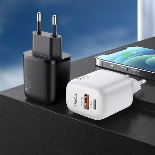 Сетевое зарядное устройство TOPK B210P 20W QC3/PD