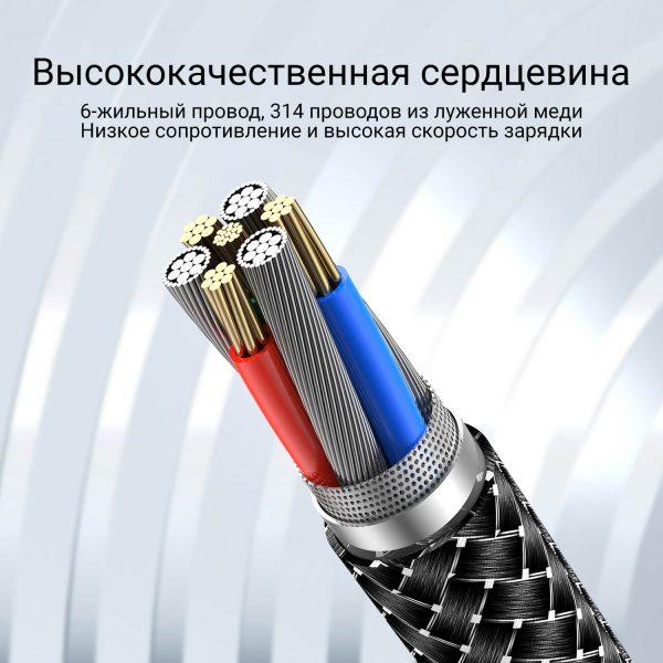 Магнитный кабель зарядки и синхронизации Type-C/Type-C USLION US0138