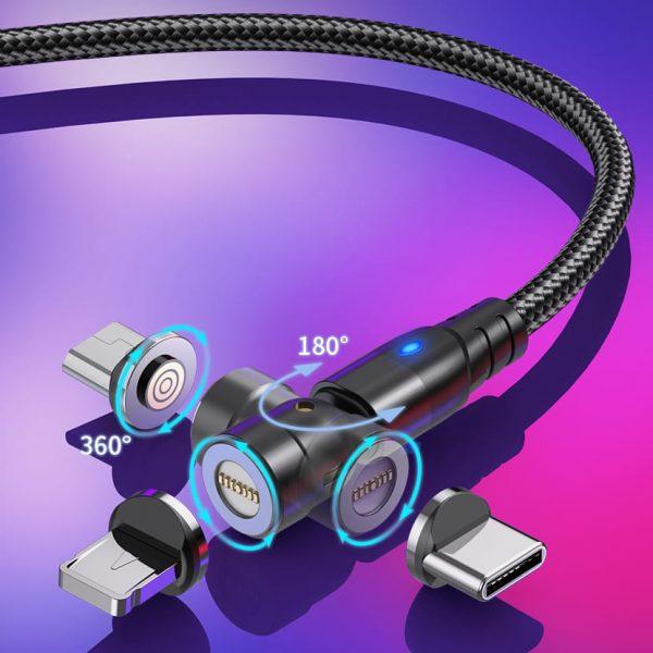 Магнитный кабель зарядки и синхронизации Type-C/3 в 1 USLION US0165